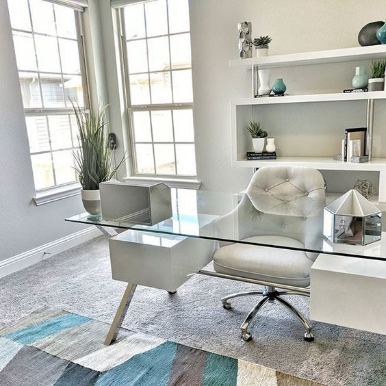 Great Home Office Decor Decorating Idea Love How Clean And Organized The Glass Desk Makes This Cheap Office Furniture Home Office Decor Home Office Design