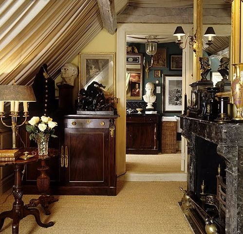 Room of the Day ~ antique-filled room under the eaves 6.13.2015