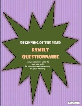 Freebie- Family Questionnaire - use at the beginning of the year or open house to get to know your students better.