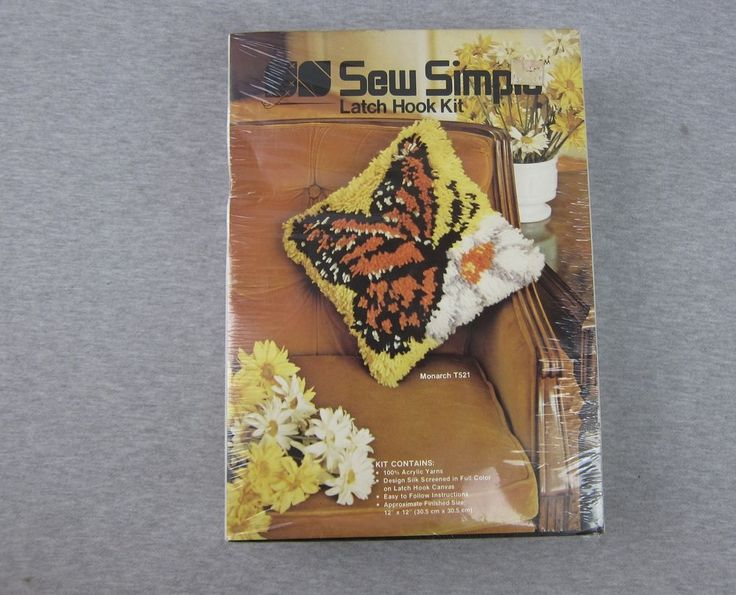 NEW Vintage Sew Simple Monarch Butterfly Latch Hook Rug Kit SEALED 12x12 1977 | Crafts, Needlecrafts & Yarn, Rug Making | eBay!