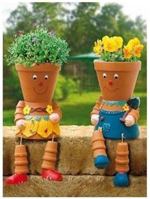 Magia das Plantas: Bonecas feitas com vasos