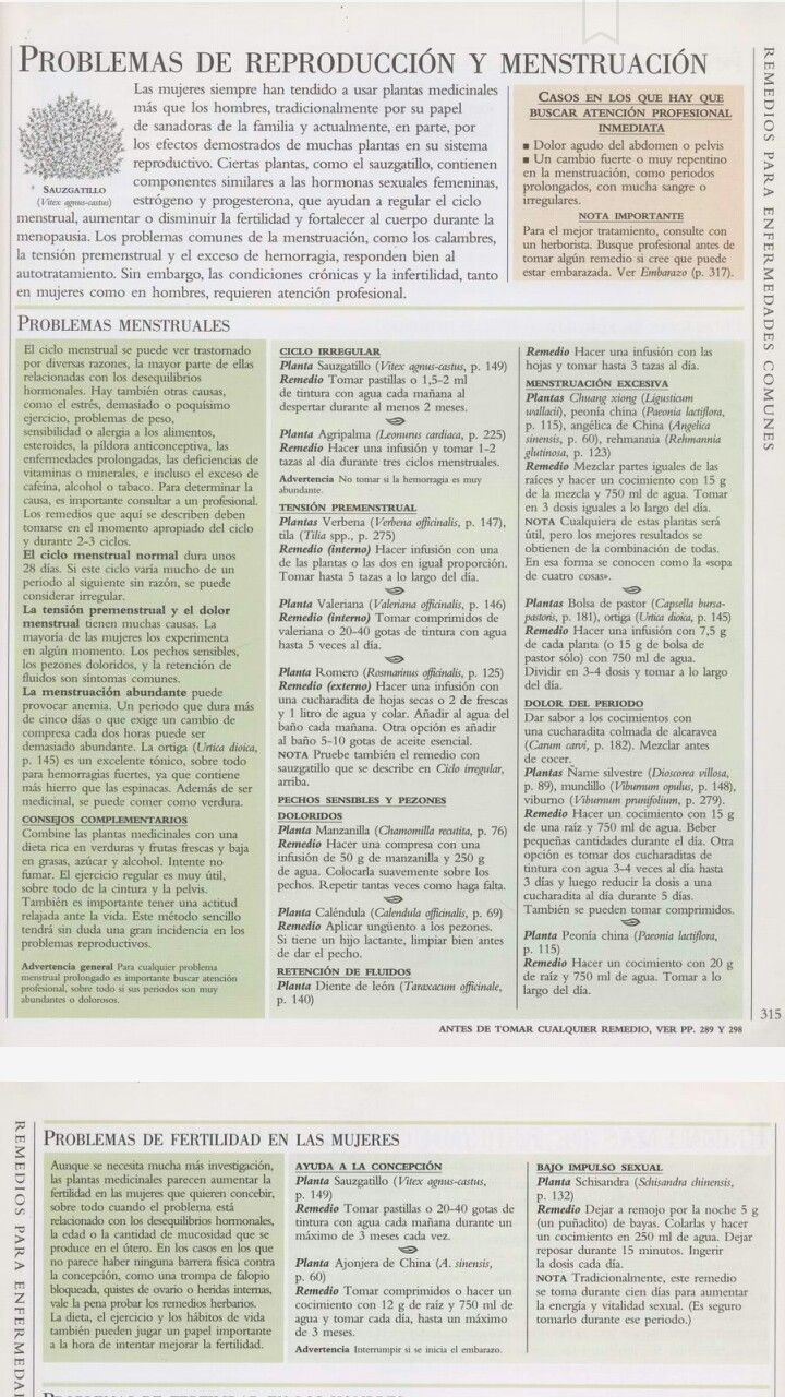 Remedios para sintomas menstruales