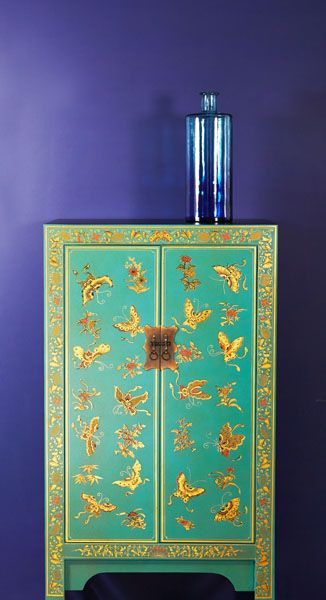 Nine Schools - Blue Painted Cabinet with gilt butterfly design