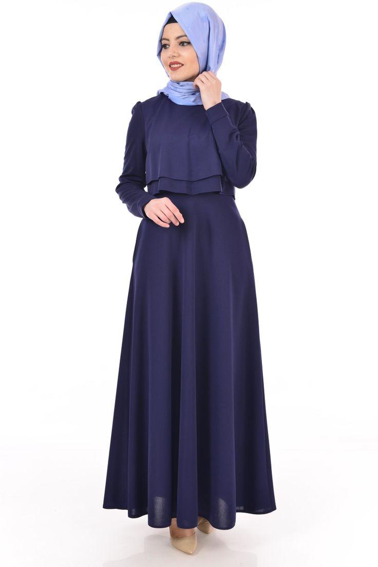 Cepli Tesettür Elbise Lacivert DURU 2496