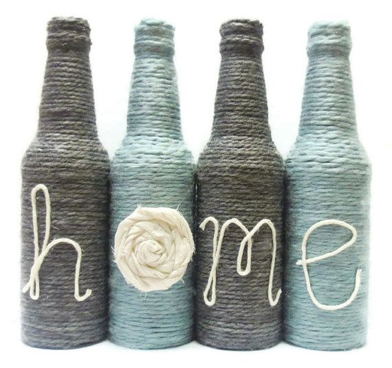 FREE SHIPPING Yarn Wrapped Twine Bottles Home Decor Grey and Blue Decor