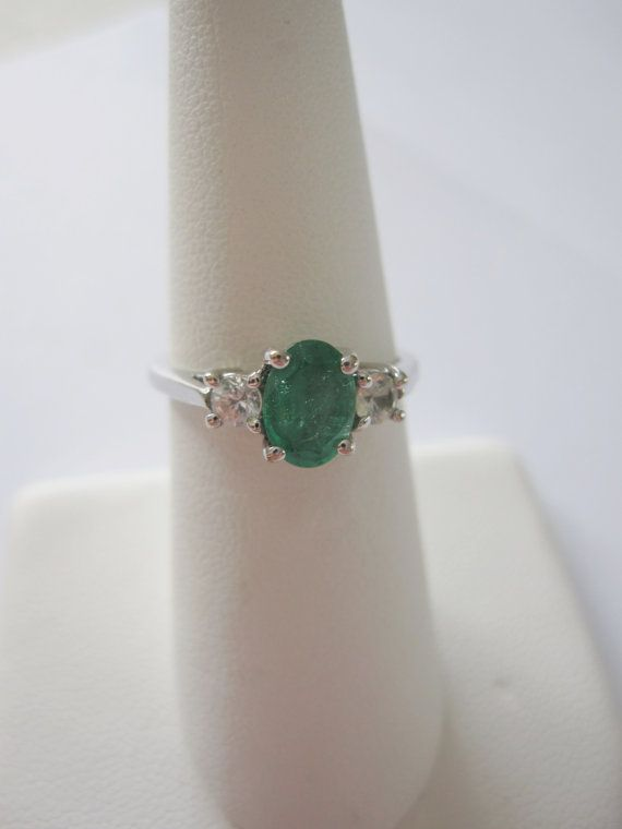 Something Old - 14k Estate Vintage Natural Green Emerald White Sapphire Gold Art Deco Edwardian Georgian style Birthstone or Engagement Ring $249.00