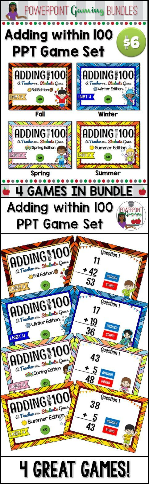 Engage students with these fun, interactive adding within 100 games bundle. This set contains 4 seasonal themed powerpoint games. In each powerpoint game, students practice adding numbers up to 100. Some questions require regrouping. Addends include one (1) and two (2) digit numbers. Each game has 25 questions. Great for a guided math center or rainy day activity. Great for individual practice on the iPad!