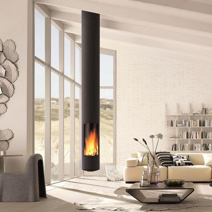 Wood fireplace / contemporary / closed hearth / central SLIMFOCUS SUSPENDU Focus