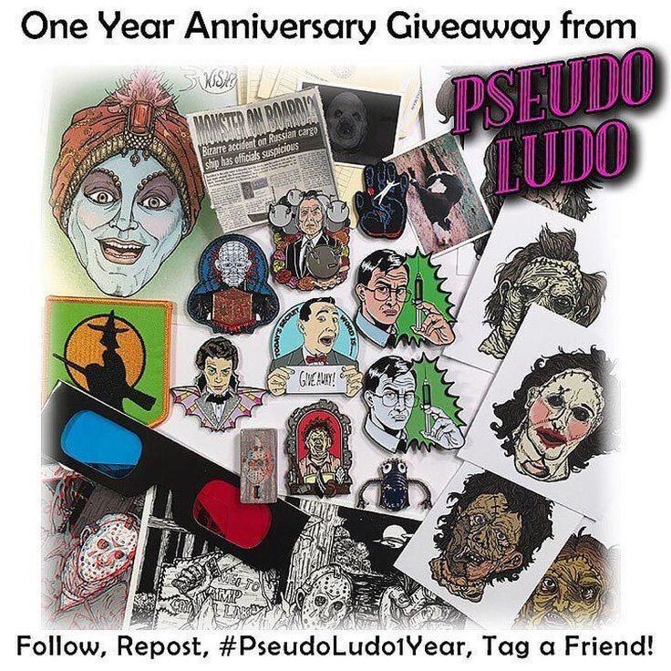 """#Repost @pseudo_ludo  It's giveaway time! Pseudo Ludo will be hitting it's one year anniversary on January 1st! To celebrate we have assembled an ultimate Pseudo Ludo prize package! The winner will receive (almost) every pin we have made this year including """"Today's Secret Word"""" """"Kirlian Hand"""" (with all 4 versions of the file folder packaging that we made for it) """"Tall Dude"""" blue """"Finger Monster"""". Limited Edition (long sold out) Glow Variant """"Heck Priest"""" """"3D Di Di Ma Ma Ma"""" pin and 3D print combo """"Hunky Warlock and Spell Scholar"""" patch set both the original and glow variant """"Resurrectionator"""" and last but not least a """"Choice Cuts"""" set with 8 interchangeable masks.  On top of all that goodness the winner will get exclusive prints of the """"Choice Cuts"""" masks (including a brand new design) a B&W non-anaglyph 3D Di Di Ma Ma Ma print  line work mini prints of the trading card art for our """"Heck Priest"""" and """"Choice Cuts"""" pin sets a 4x6 """"Wish"""" print and a custom sketch of your choice illustrated by Monstro. If that wasn't enough they will also receive a coupon to get our next new enamel pin for free! There will also be some other secret surprises. Wowie! Here's how to enter:  1-You must be following @Pseudo_Ludo 2-Share this picture on your Instagram (you can post it as many times as you want) 3-Use the hashtag #PseudoLudo1Year 4-Tag a friend or 2 or 5 in at least your first post. (Don't make your friends crazy by tagging them in every entry! Hahaha)  The winner will be announced on January 4 2017 at 10PM EST. Good luck everyone! -Pam :0)    (Posted by https://bbllowwnn.com/) Tap the photo for purchase info. Follow @bbllowwnn on Instagram for great pins patches and more!"""