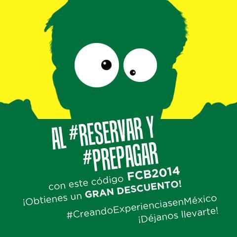 Al #Reservar y #Prepagar con este Código FCB2014…  ¡Obtienes un GRAN DESCUENTO!  Reserva ahora en https://nationalcar.com.mx/  #CreandoExperienciasenMéxico  ¡Déjanos llevarte!