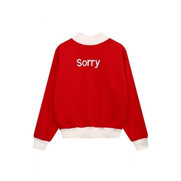 Letter Print Color Block Long Sleeve Mock Neck Pullover Women's... ($28) ❤ liked on Polyvore featuring tops, hoodies, sweatshirts, block top, red long sleeve top, long sleeve tops, mock neck top and long sweatshirt