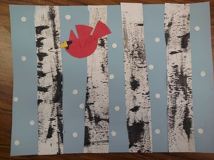1st graders made a winter scene with textured paint to form birch trees along with a cardinal in flightas it snows! I know it's early ...