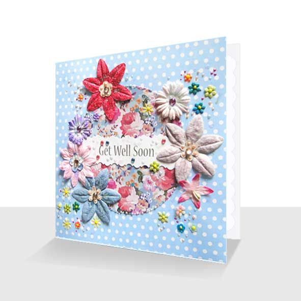 Get Well Soon Card : Pretty Florals, Unique Greeting Cards Online, Buy Luxury Handmade Cards, Unusual Cute Birthday Cards and Quality Christmas Cards by Paradis Terrestre