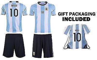 JerzeHero Argentina Messi #10 Kids Youth Soccer Gift Set  Soccer Jersey   Bag