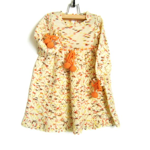 Knitted Baby Dress  Yellow 12  18 months by SasasHandcrafts, $68.00