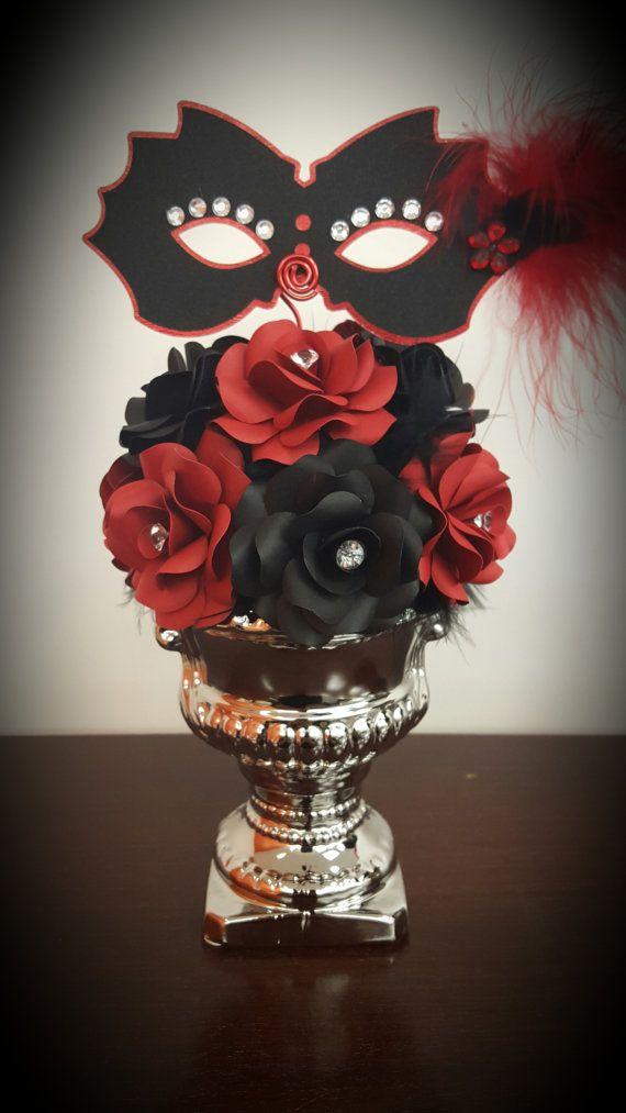 Masquerade theme, masquerade centerpieces, masquerade decor, paper flowers, paper centerpiece, CUSTOMIZABLE, mardi gras or sweet sixteen