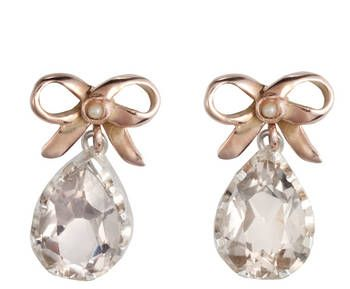 9ct Rose Gold Bow Earrings with Quartz Drop
