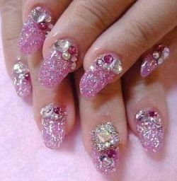 nail art jewelled short nails - Google Search
