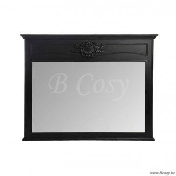 """J-Line Zwarte barokke antieke spiegel in zwart hout 125x100 <span style=""""font-size: 0.01pt;"""">Jline-by-Jolipa-39644</span>"""