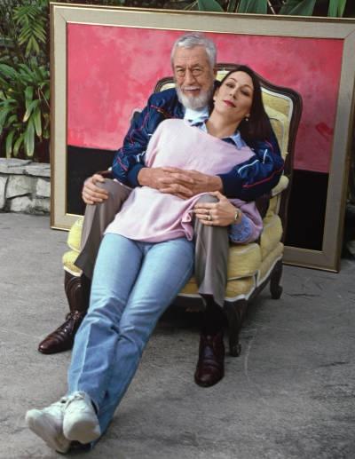 Huston-- Anjelica Huston and her father John Huston