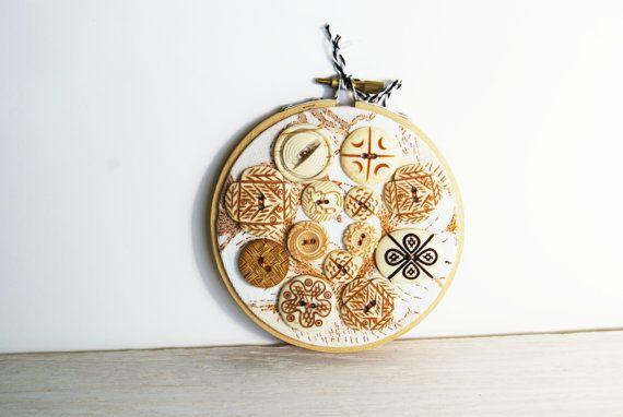 Embroidery Hoop Art Upcycled Textile by BrandyCupcakesStudio, $45.00