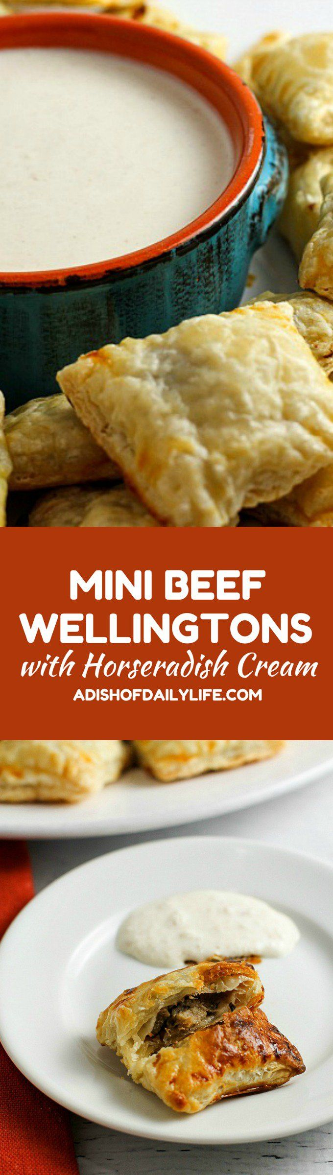 These Mini Beef Wellingtons with Horseradish Cream are an elegant appetizer, perfect for special occasions! Your game day crowd will love them too though! One of my favorite appetizers EVER! http://www.adishofdailylife.com/2017/02/mini-beef-wellingtons-with-horseradish-cream/