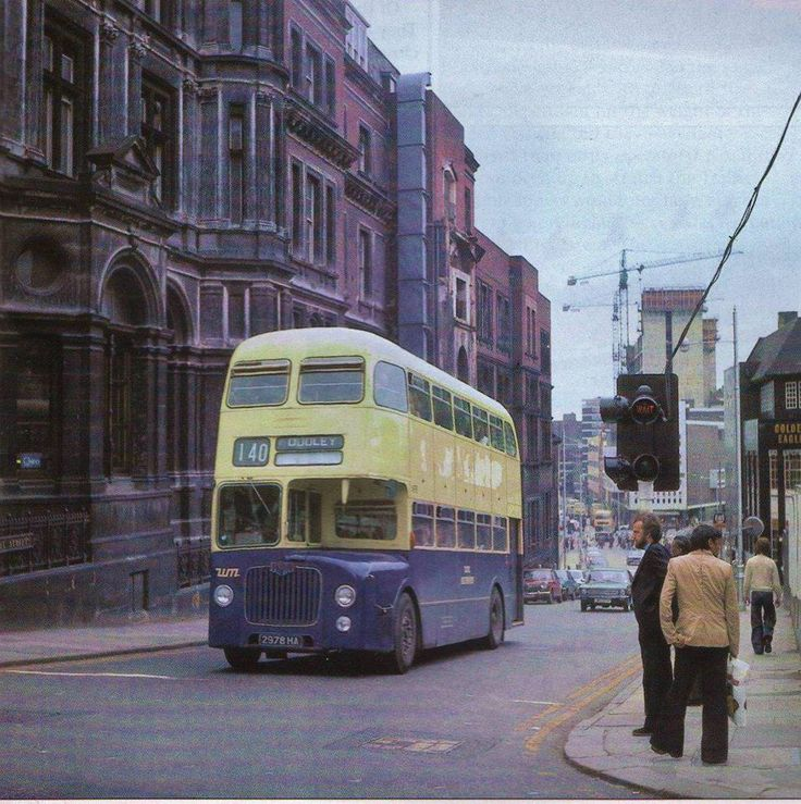 Number 140 Bus in Hill Street Birmingham UK about 1970.