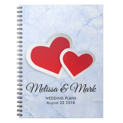 2 Red Hearts on Icy Blue Marble Wedding Plans Notebook Weddings
