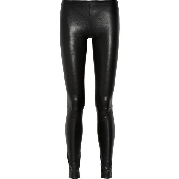 Moto stretch-leather skinny pants ($2,275) ❤ liked on Polyvore featuring pants, bottoms, jeans, leggings, trousers, black, skinny pants, real leather pants, black stretch pants and stretchy leather pants