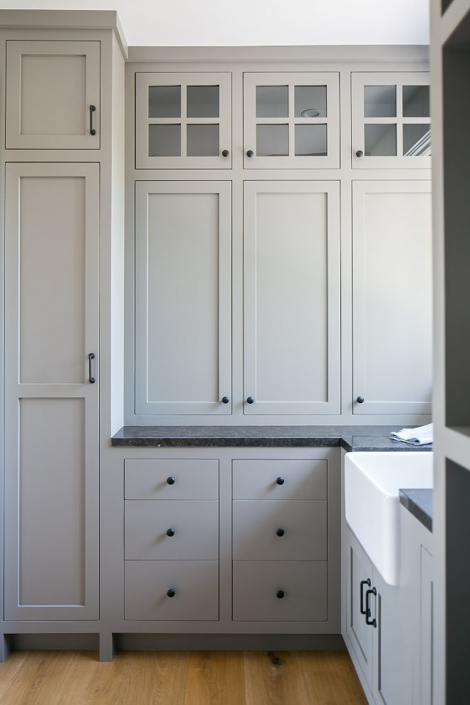 Grey cabinet paint color Farrow and Ball Mole's Breath 276 - Home Bunch blog