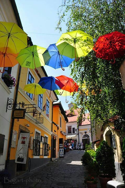 Szentendre. Cobblestone streets, colorful houses, crowded markets and a landscape postcards.