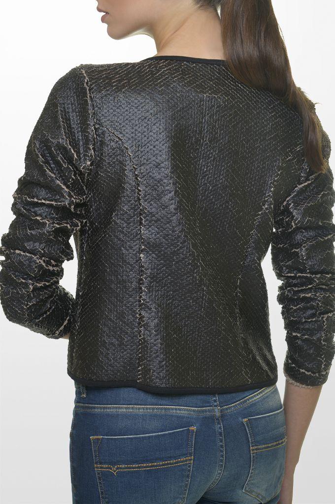 Sarah Lawrence - fake leatheret crew neck zip blazer, skinny denim pant.