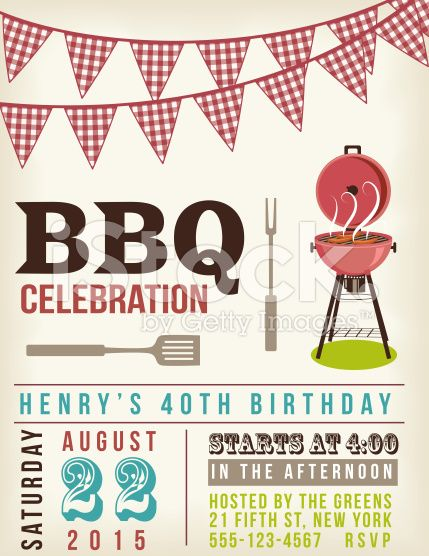 Retro BBQ Invitation template with checkered flags above. royalty-free stock vector art