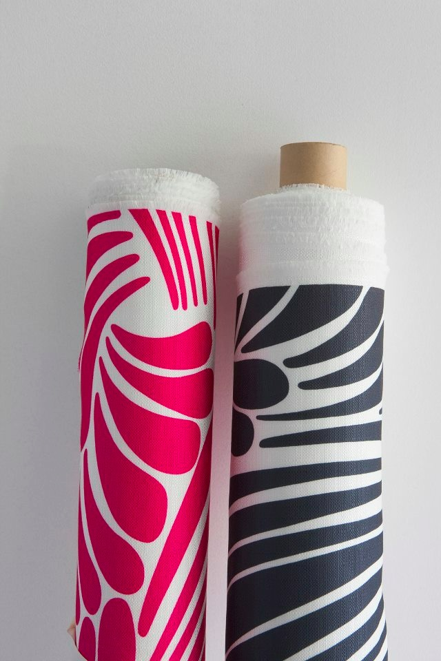 Florence Broadhurst 'Fingers' fabric in pink or black on white.