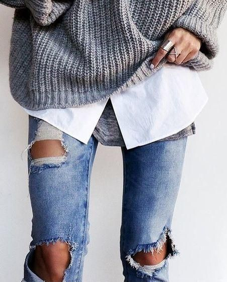 fall layers. tee. white shirt. chunky knit. ripped jeans.