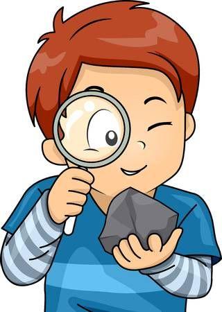 Ilustracion De Un Nino Pequeno Que Usa Una Lupa Para Examinar Una Roca Science Lab Decorations Character Design Baby Photography Backdrop