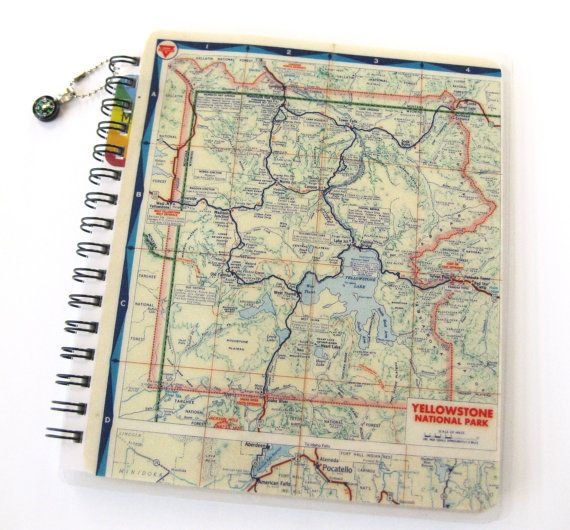 Yellowstone Map Sketch Book & Journal // Sprial by MeowKapowShop, $24.00