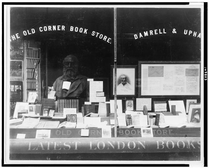 Display of Books And Memorabilia Of Walt Whitman, In Window Of The Old Corner Book Store