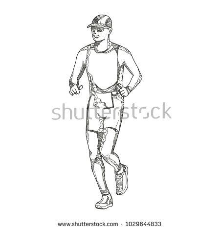 Doodle art illustration of a triathlete,marathon,duathlon, trail runner running on isolated background done in mandala style.  #marathon #doodleart #illustration