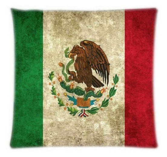 DIY Mexico Flag Throw Cover Soft Pillow Back