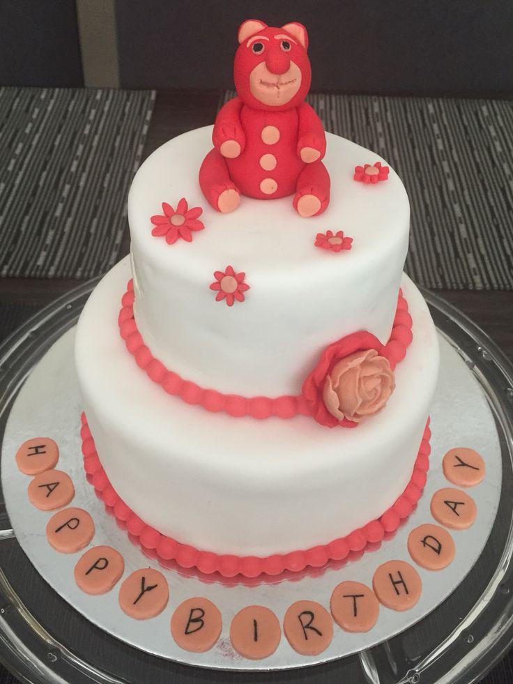2 tiered fondant birthday cake