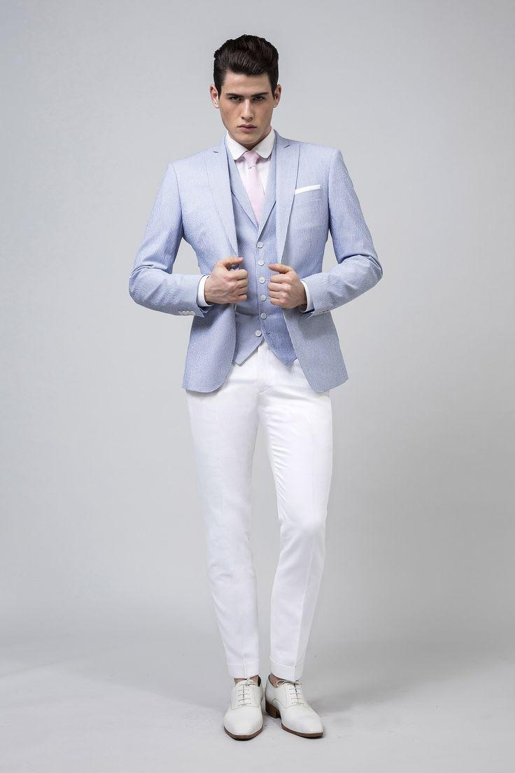 Veste sur mesure en seersucker de coton ciel et blanc