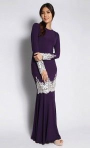 Bold Kurung with White Lace in Deep Purple