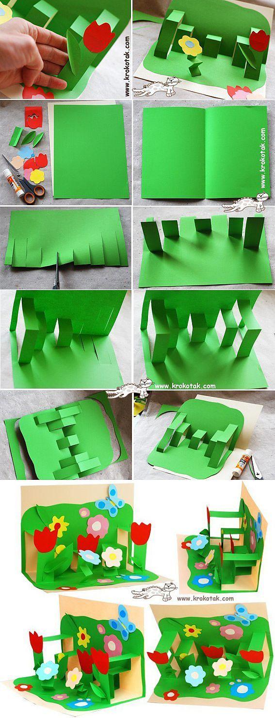 Детское творчество. Открытка к 8 марта / Детское творчество - аппликации, поделки из цветной бумаги, картона, теста, пластилина, пластиковых бутылок для детей / Лунтики. Развиваем детей. Творчество и игрушки