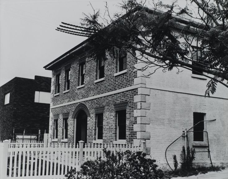 Harrisford House, George Street, Parramatta, view of front and left exterior of two storey brick building, ca. 1960s - 1980s LSP00892
