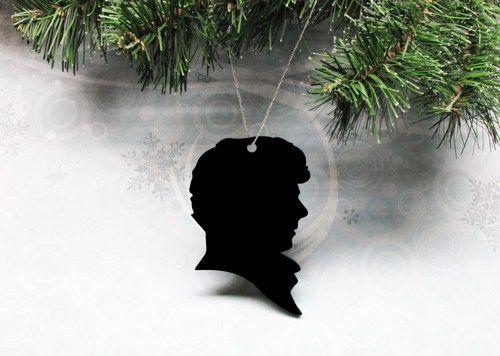 Sherlock Holmes Christmas Tree Ornament, decoration silhouette black