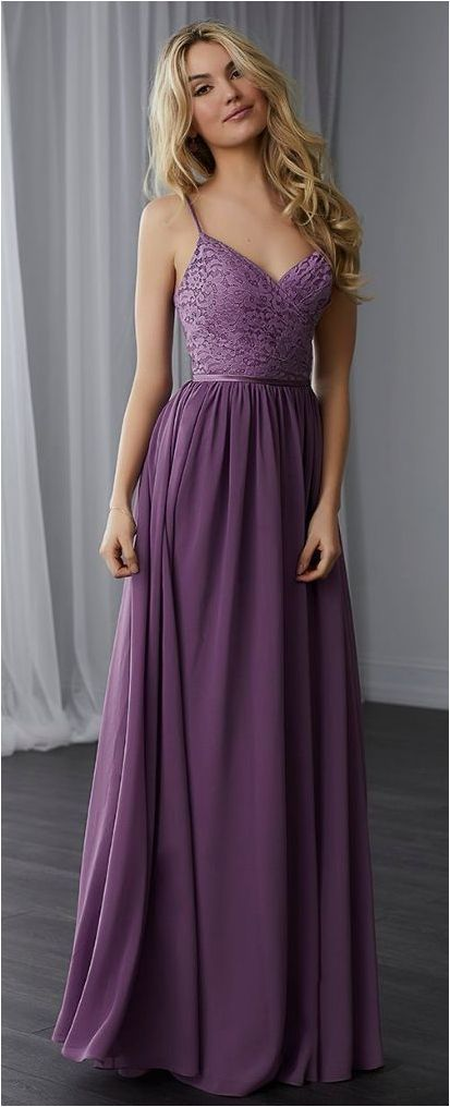 Simple Spaghetti Straps A-Line Purple Chiffon Long Prom Dress by prom dresses, $159.00 USD