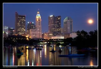 Downtown Skyline of Columbus, Ohio from the Scioto River at dusk