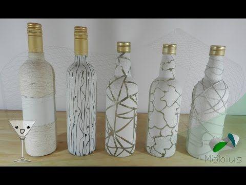 Como  Decorar botella con cinta de cristal - YouTube
