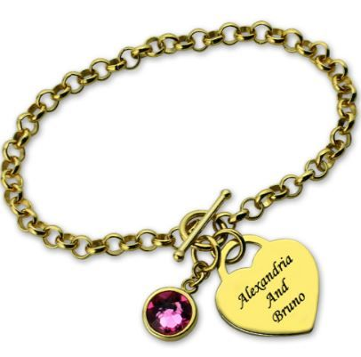 Personalised gold heart name bracelet with birthstone